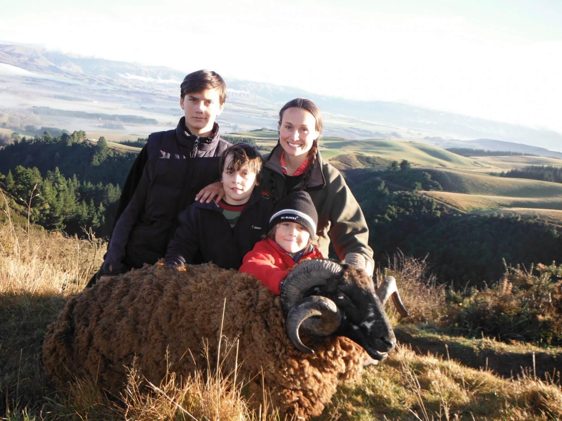 family with arapawa ram trophy new zealand