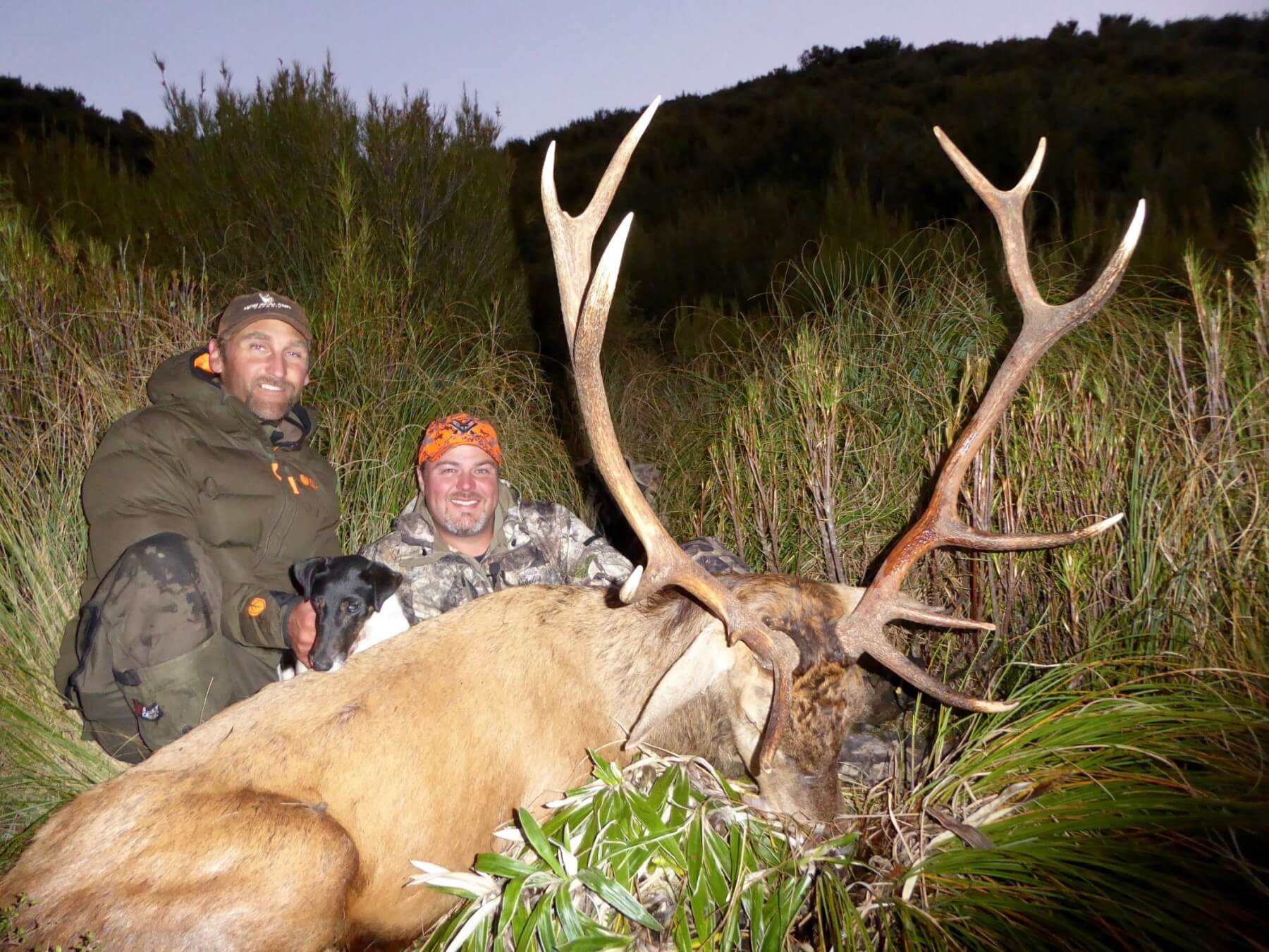 hunter and jim with free range stag