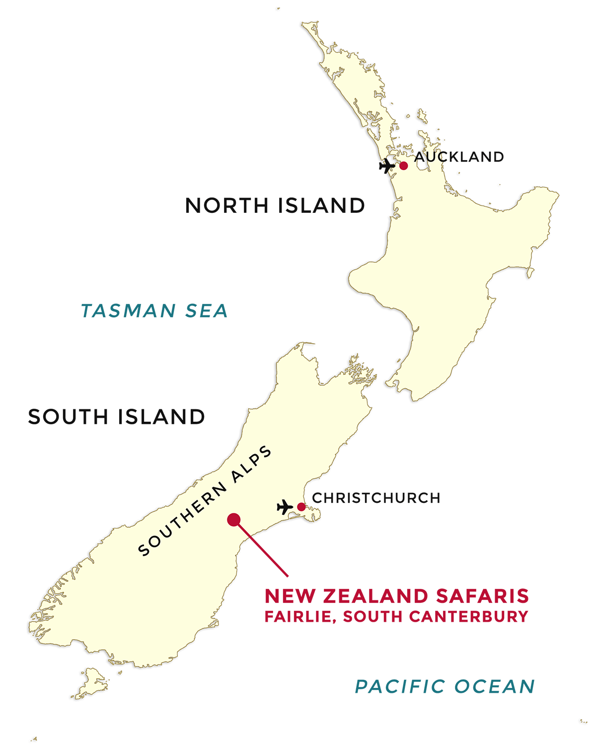 New Zealand Safaris Map