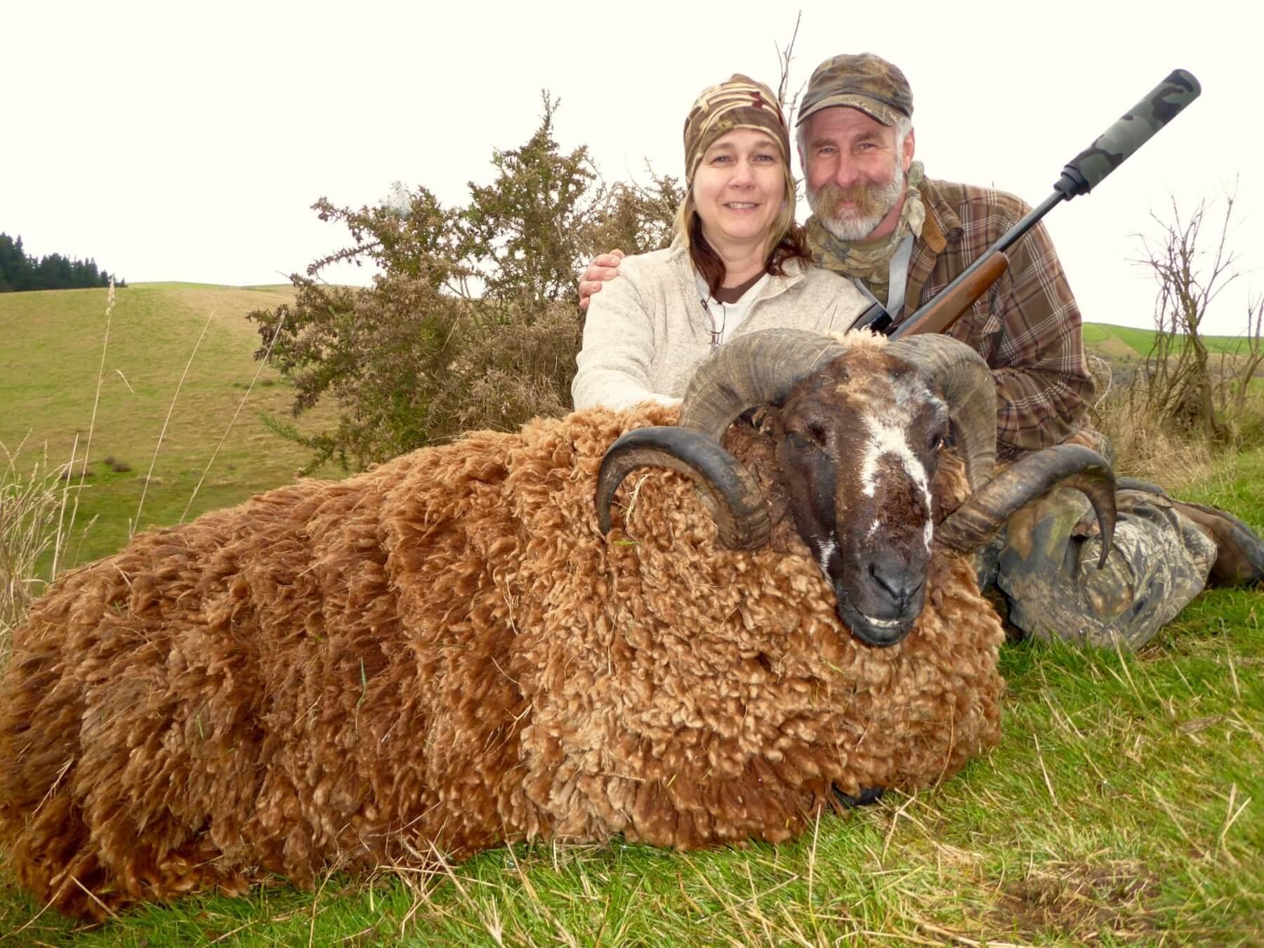 couple with arapawa ram trophy new zealand