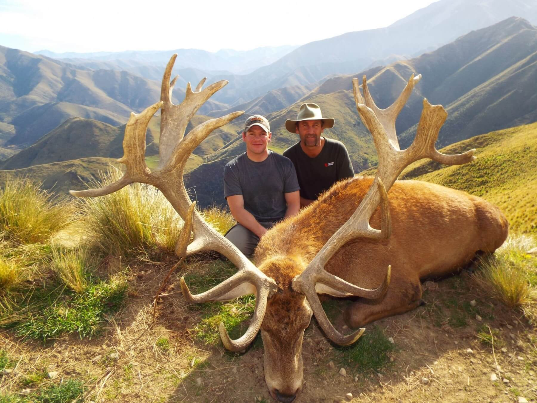 sunny red stag trophy with hunter and jim