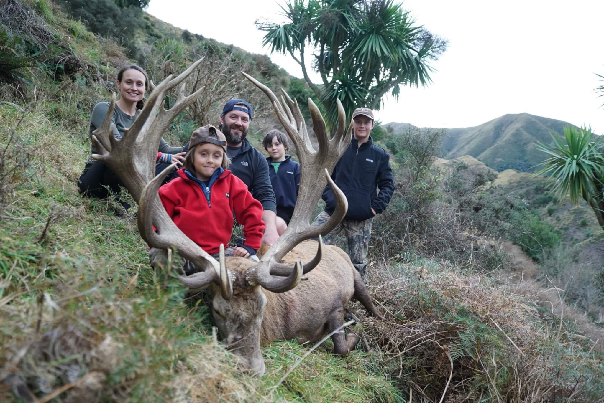 New Zealand Safaris Family Red Stag hunting trophy
