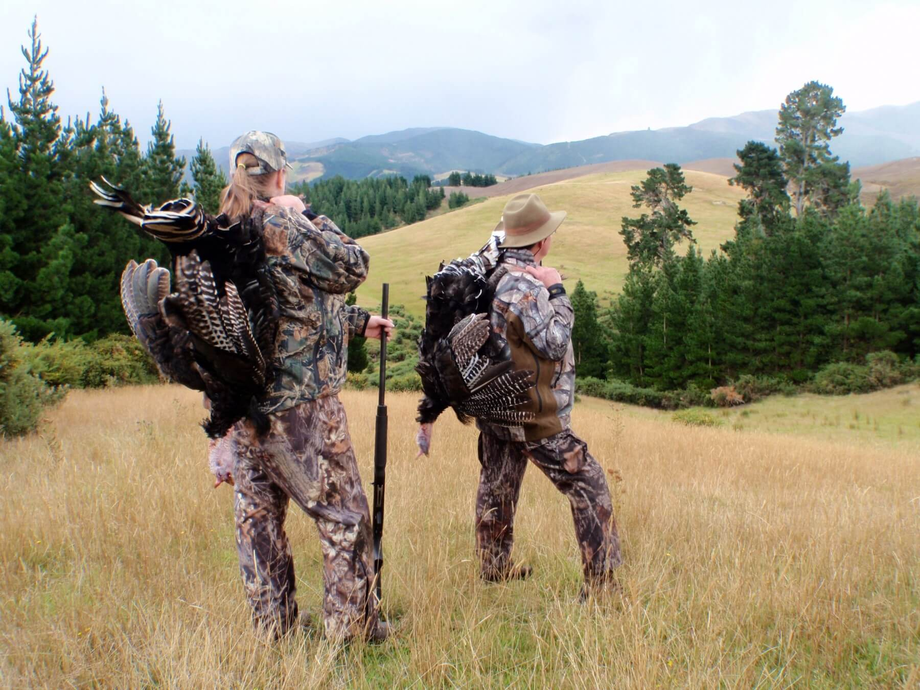 turkey hunters with trophies new zealand